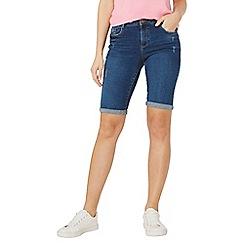 Dorothy Perkins - Washed indigo knee denim shorts
