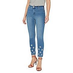 Dorothy Perkins - Midwash broderie frankie ankle grazer jeans