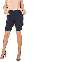 Dorothy Perkins - Navy linen viscose knee shorts