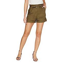 Dorothy Perkins - Khaki eyelet linen shorts