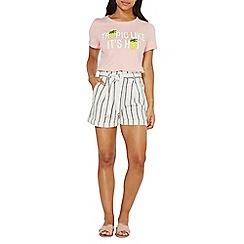 Dorothy Perkins - Ivory striped paper bag shorts