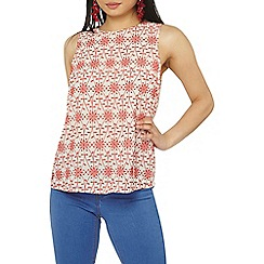 Dorothy Perkins - Petite red cutwork shell top