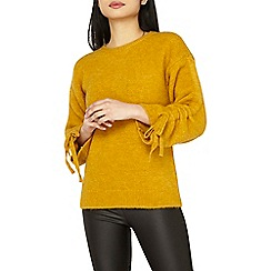 Dorothy Perkins - Petite ochre ruched sleeve jumper