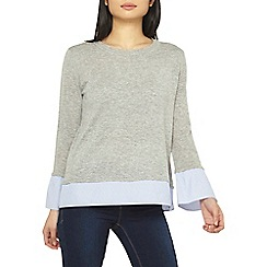 Dorothy Perkins - Petite grey woven cuff 2-in-1 jumper