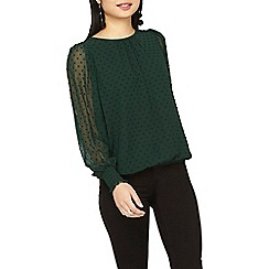 Dorothy Perkins - Petite green shirred cuff blouse