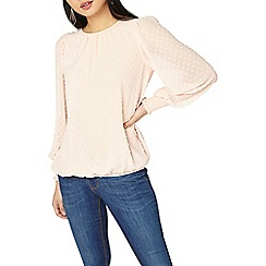 Dorothy Perkins - Petite pink dobby shirred blouse