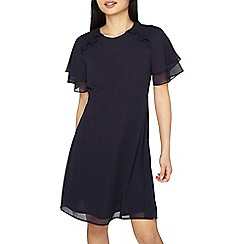 Dorothy Perkins - Petite navy frill fit and flare dress