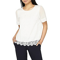 Dorothy Perkins - Petite ivory lace hem top