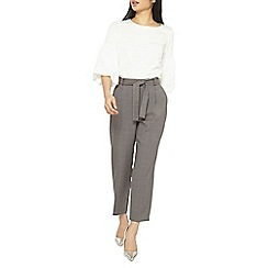 Dorothy Perkins - Petite charcoal tie waist ankle grazer trousers