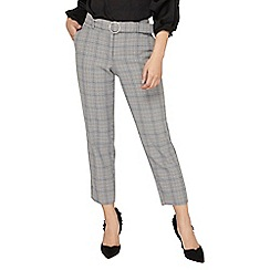 Dorothy Perkins - Petite grey checked belted ankle grazer trousers