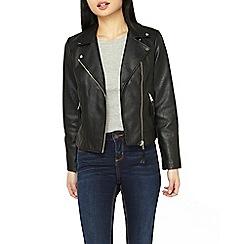Dorothy Perkins - Petite black pu biker jacket