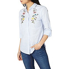 Dorothy Perkins - Petite blue striped embroidered shirt