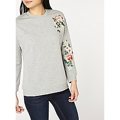 Dorothy Perkins - Petite grey embroidered sweat top