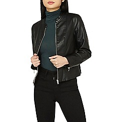 Dorothy Perkins - Petite black collarless polyurethane jacket