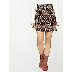 Dorothy Perkins - Petite black floral jacquard skirt