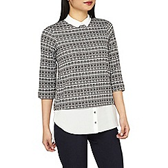 Dorothy Perkins - Petite grey checked 2-in-1 top