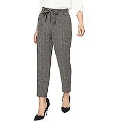 Dorothy Perkins - Petite grey herringbone tie waist ankle grazer trousers