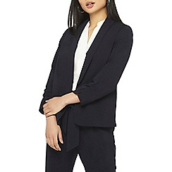 Dorothy Perkins - Petite navy ruched sleeves blazer