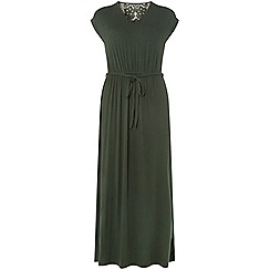 Dorothy Perkins - Petite khaki crochet back maxi dress