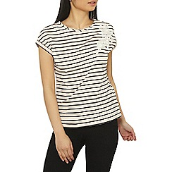 Dorothy Perkins - Petite pink striped floral applique t-shirt