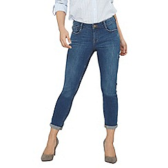 Dorothy Perkins - Petite midwash harper roll up skinny jeans