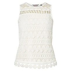 Dorothy Perkins - Petite white aztec lace shell top