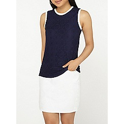 Dorothy Perkins - Petite navy lace trim shell top