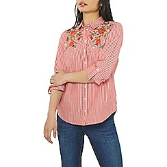 Dorothy Perkins - Petite red stripe embroidered shirt