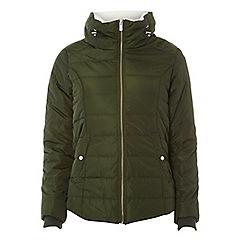 Dorothy Perkins - Petite khaki faux fur collar puffer jacket