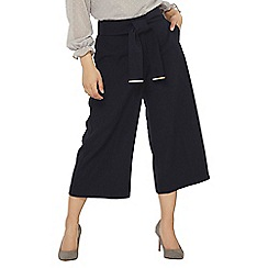 Dorothy Perkins - Petite navy wide leg cropped trousers