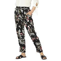 Dorothy Perkins - Petite black and pink safari floral print joggers