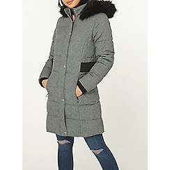 bc5a093586 Dorothy Perkins - Petite grey faux-fur trimmed puffer jacket