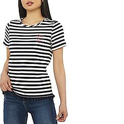 Dorothy Perkins - Petite navy striped love t-shirt