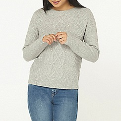 Dorothy Perkins - Petite grey cable knitted jumper