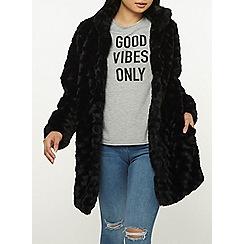 Dorothy Perkins - Petite black faux fur swirl coat