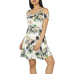 Dorothy Perkins - Petite ivory tropical fit and flare dress