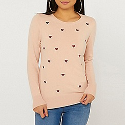 Dorothy Perkins - Petite heart print embroidered jumper