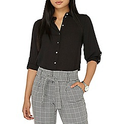 Dorothy Perkins - Petite black roll sleeve shirt