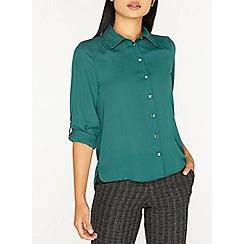 Dorothy Perkins - Petite evergreen roll sleeve shirt