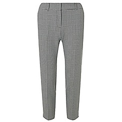 Dorothy Perkins - Petite grey checked side striped trousers