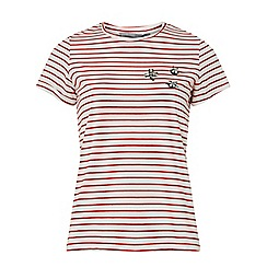 Dorothy Perkins - Petite red embroidered stripe print t-shirt