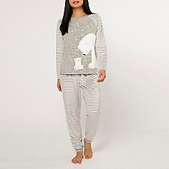 Dorothy Perkins - Petite grey polar bear pyjama set