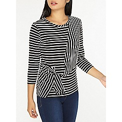 Dorothy Perkins - Petite monochrome side-knot striped top