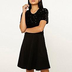 Dorothy Perkins - Black sequin skater dress