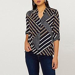 Dorothy Perkins - Petite Blue Stripe Roll Sleeve Shirt 01733fbaf31