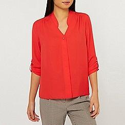 Dorothy Perkins - Red Roll Sleeve Shirt