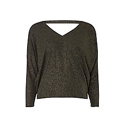 Dorothy Perkins - Petite gold sparkle batwing top