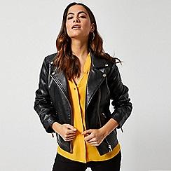 Dorothy Perkins - Black Faux Leather Biker Jacket