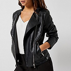 Dorothy Perkins - Black Faux Leather Collarless Jacket