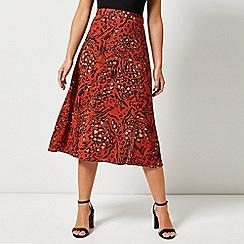 Dorothy Perkins - Petite Leopard Print Midi Skirt ed2b4c324